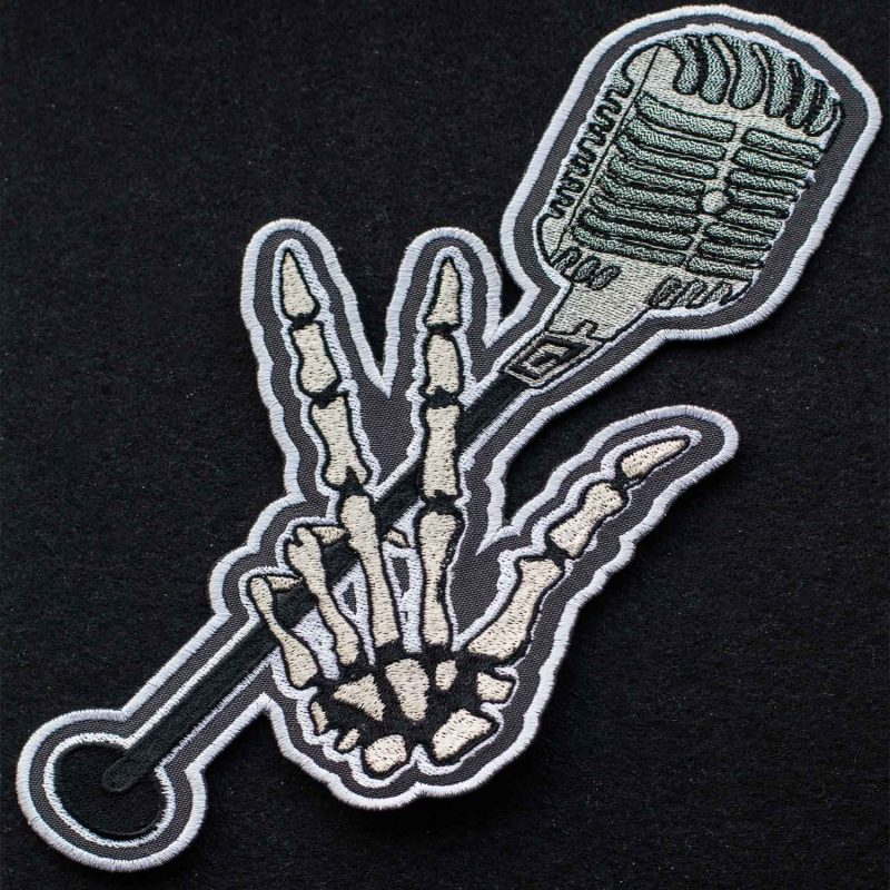 bones with the microphone large embroidered patch