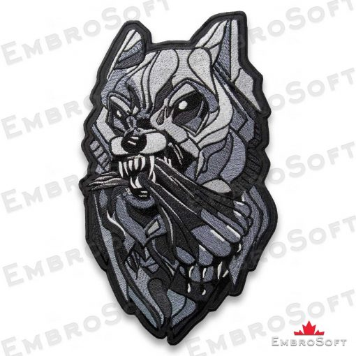 The embroidered patch Fanged Wolf turned to left