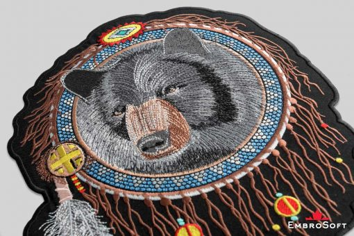 The embroidered patches Bear in Dreamcatcher - portrait photot