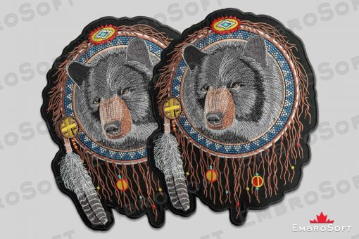 The embroidered patches Bear in Dreamcatcher - collage