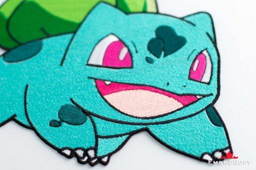 The embroidered patch Pokemon Bulbasaur - macro photo
