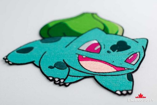 Portrait photo of he embroidered patch Pokemon Bulbasaur