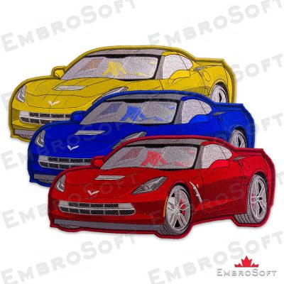 The embroidered patch Yellow Chevrolet Corvette in three colors