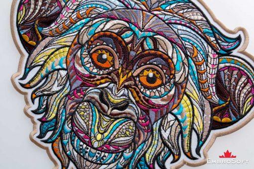 The embroidered patch Creative Monkey - close-up image