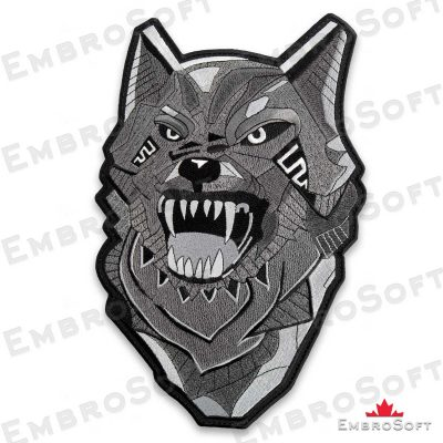The embroidered patch Dangerous Toothy Wolf turned to left