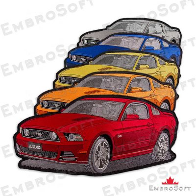 The embroidered patch Ford Mustang in different colors