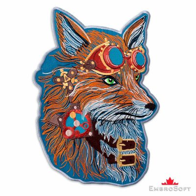 The embroidered patch Fox in Steampunk Style - right rotation