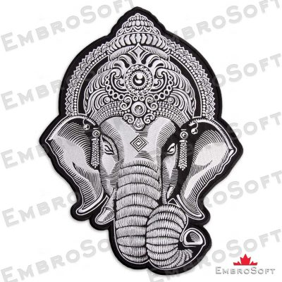 Turned to the right side embroidered patch Head of Ganesha