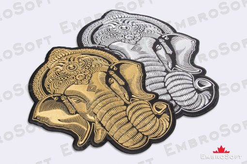 Collage of the embroidered patch Head of Ganesha