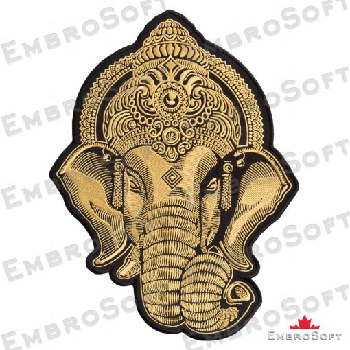 Turned to the right side embroidered patch gold Head of Ganesha