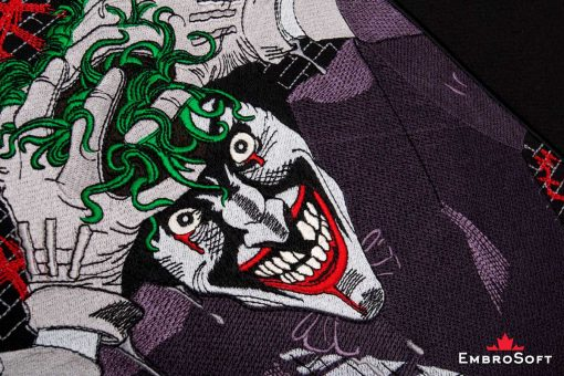 The embroidered patch Joker - close-up photo