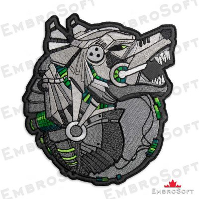 The embroidered patch Mechanical Wolf turned to right side