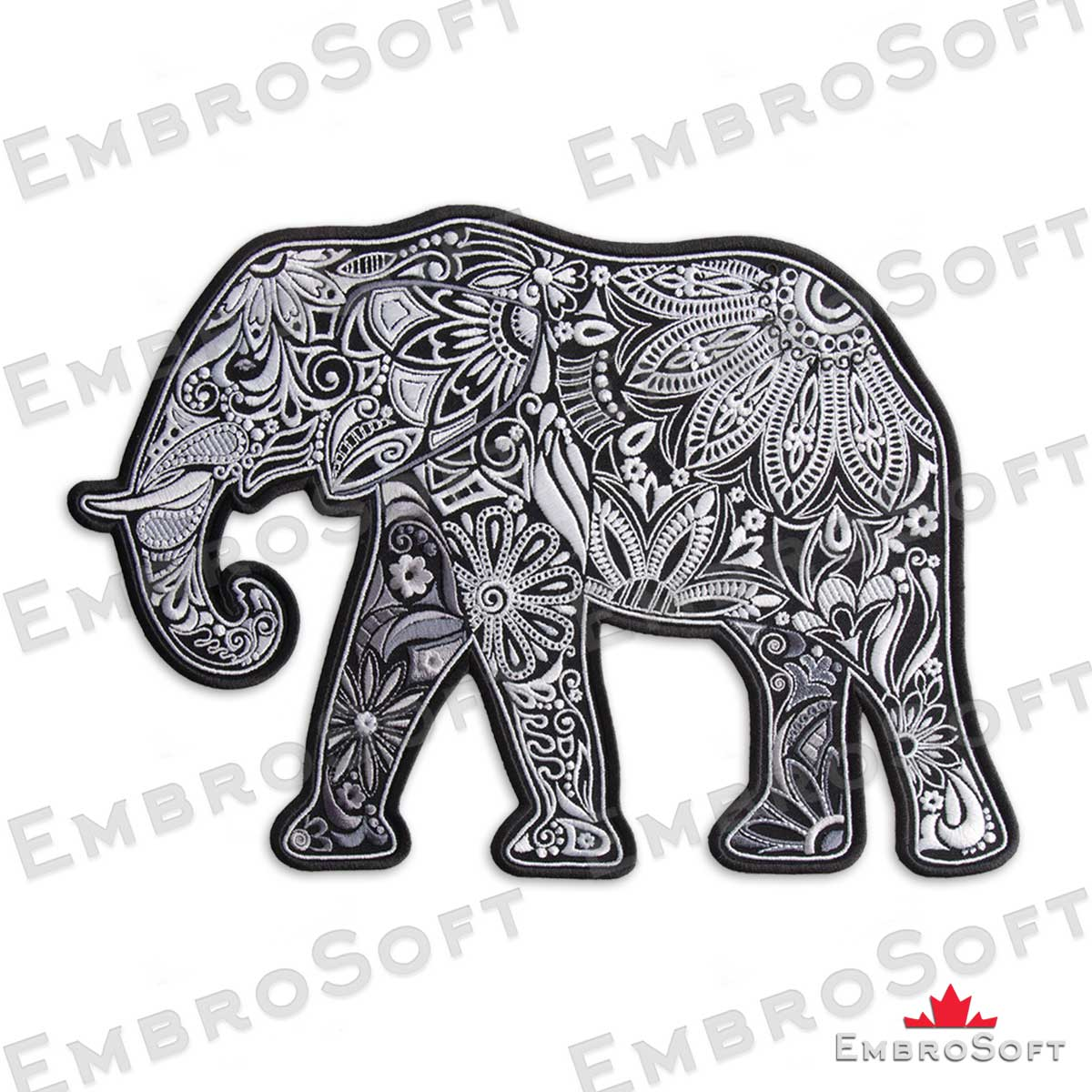 patterned elephant embroidered patch embrosoft