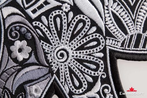 Macro picture of the embroidered patch Patterned Elephant
