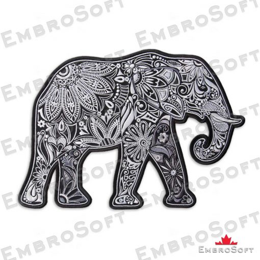 The embroidered patch Patterned Elephant in right rotation