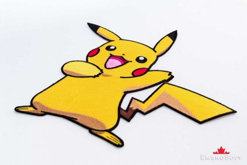 The embroidered patch Pokemon Pikachu on surface