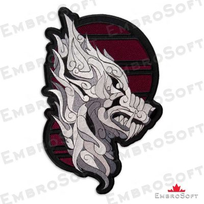 The embroidered patch Silver Mystic Wolf in right rotation