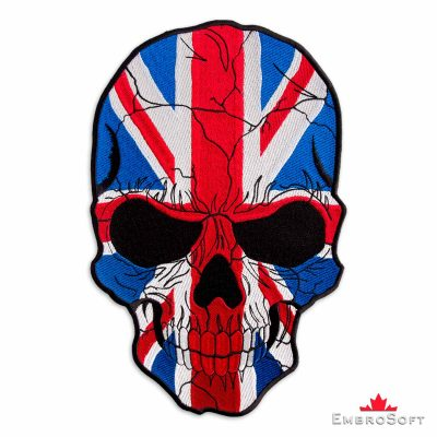 The embroided biker pacth Skull with Flag of United Kingdom