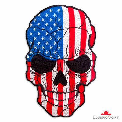The embroidered patch Large Biker Patch Skull with Flag of United States of America
