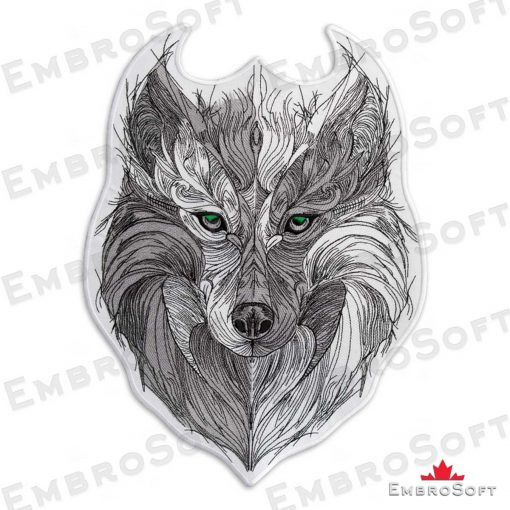 The embroidered patch Tribal Wolf with Green Eyes