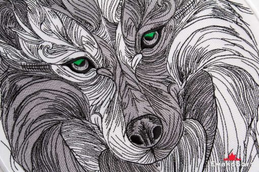 The embroidered patch Tribal Wolf with Green Eyes - portrait image