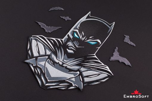 Lying on surface embroidered patch famous superhero Batman