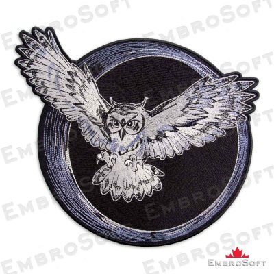 The embroidered patch Flying Owl turned to left