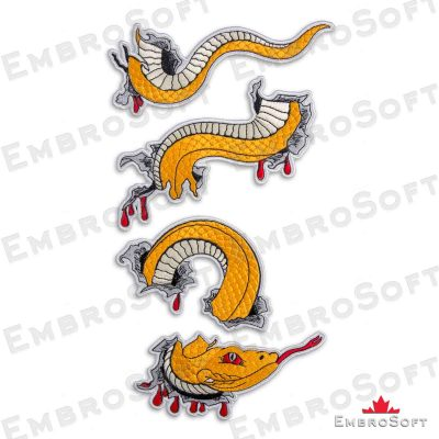 The embroidery design Golden Anaconda turned to right