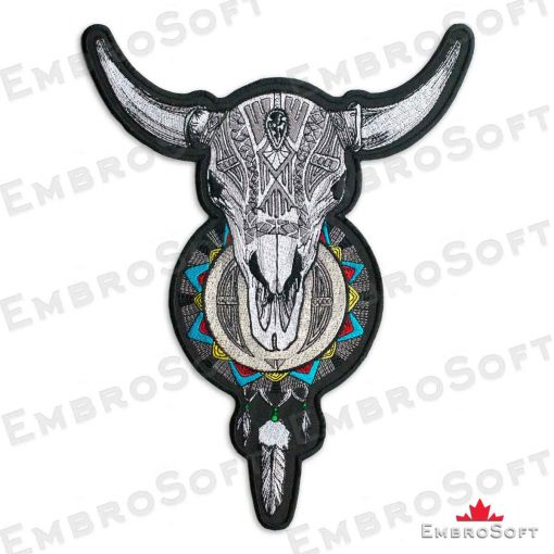 The embroidered patch Horned Skull with Dream Catcher