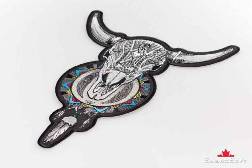 The embroidered patch Horned Skull with Dream Catcher - portrait image