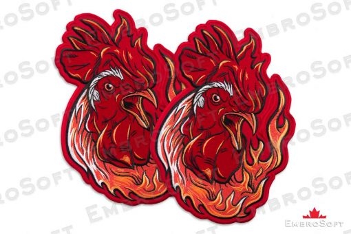 The embroidered patch Fiery Rooster - collage