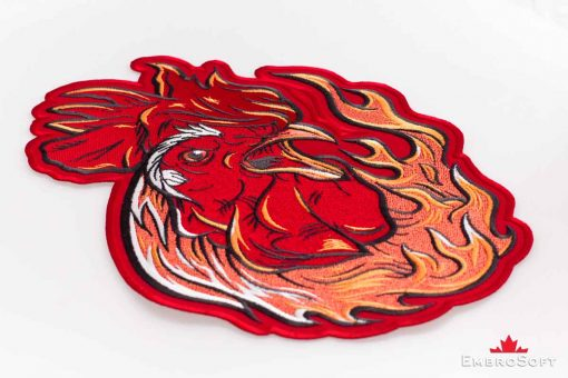 The embroidered patch Fiery Rooster - photo