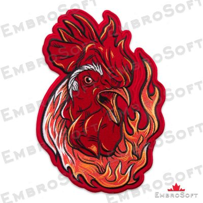 The embroidered patch Fiery Rooster turned to right
