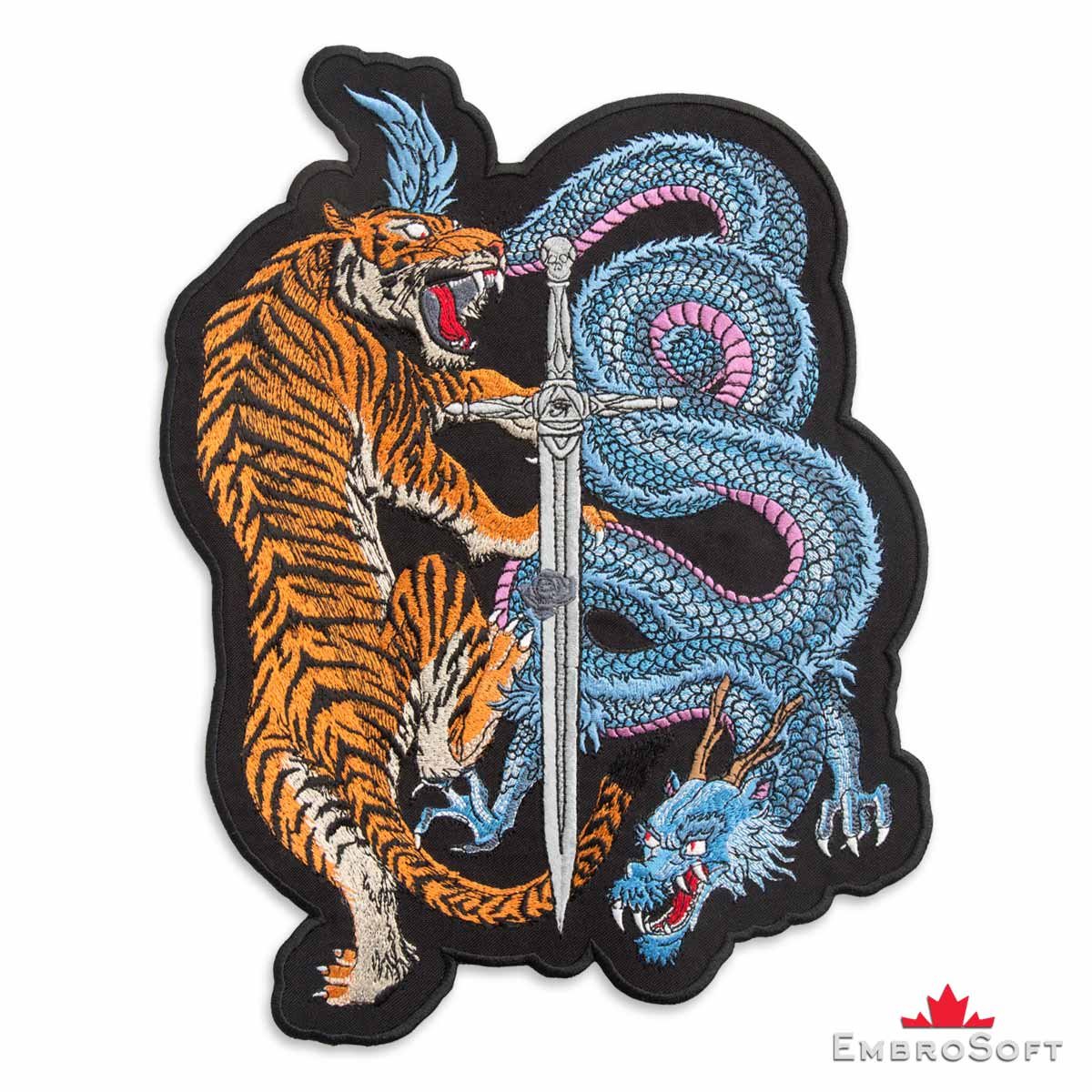 Tiger and Dragon with sword Embroidered Patch - EmbroSoft