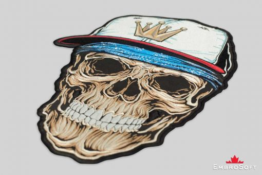 Embrosoft picture Rap Hip-Hop Skull in Cap Embroidered Patch on-surface