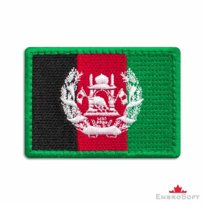 Flag of Afghanistan Embroidered Patch (2.8″ × 2″) Flags of Asia