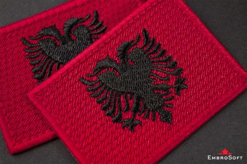 Flag Embroidered Patch of Albania Macro Photo