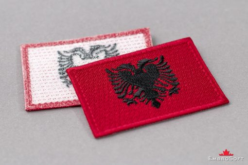 Flag Embroidered Patch of Albania Background Collage Photo