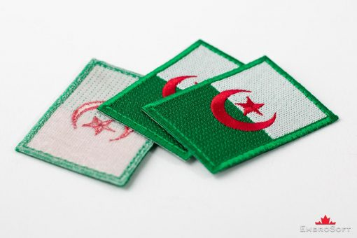 Flag Embroidered Patch of Algeria Background Collage Photo