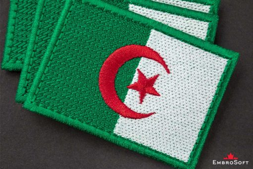Flag Embroidered Patch of Algeria Macro Photo