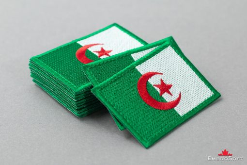 Flag Embroidered Patch of Algeria Pile Photo