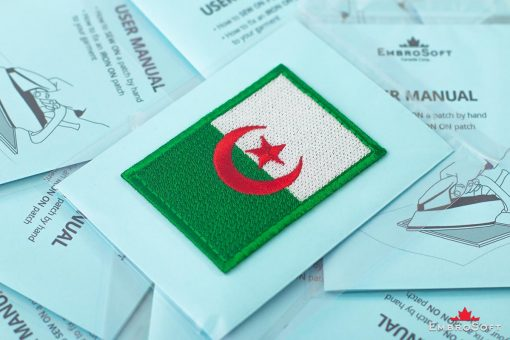 Flag Embroidered Patch of Algeria Packaging Photo