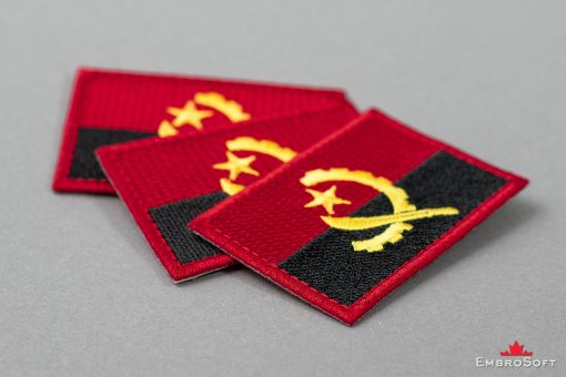 Flag Embroidered Patch of Angola Background Photo