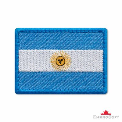 Flag of Argentina Embroidered Patch (2.8″ × 2″) Flags of South America
