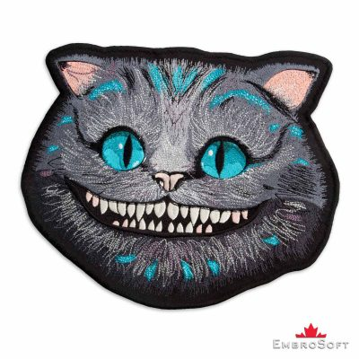 "The embroidered patch ""Cheshire Cat"" turned to left"