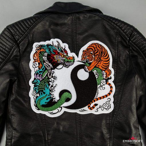 Yin Yang back leather jacket