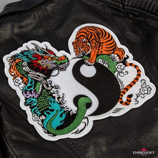 Yin Yang back leather jacket incline