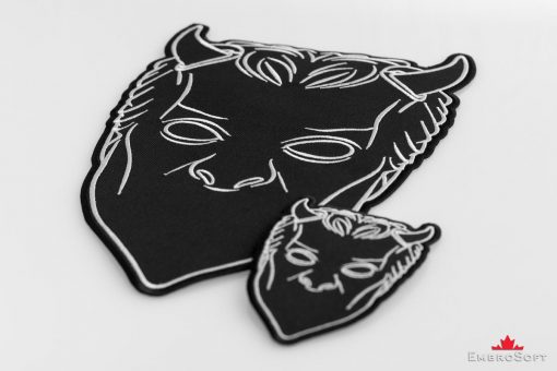 Nameless Ghouls Black Mask Embroidered Patch Collage different sizes.