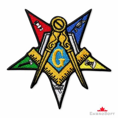 Masonic Order of the Eastern Star Embroidered Patch (3.7″ × 3.7″) Masonry