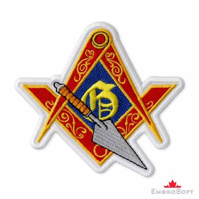 Masonic Logo with Trowel Embroidered Patch (4″ × 3.7″) Masonry